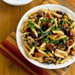 Макароны с тыквой, грибами и козьим сыром